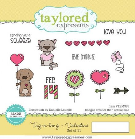 TEMS085 ~ TAG-A-LONG VALENTINE  ~ set 10 stamps ~ Taylored Expressions